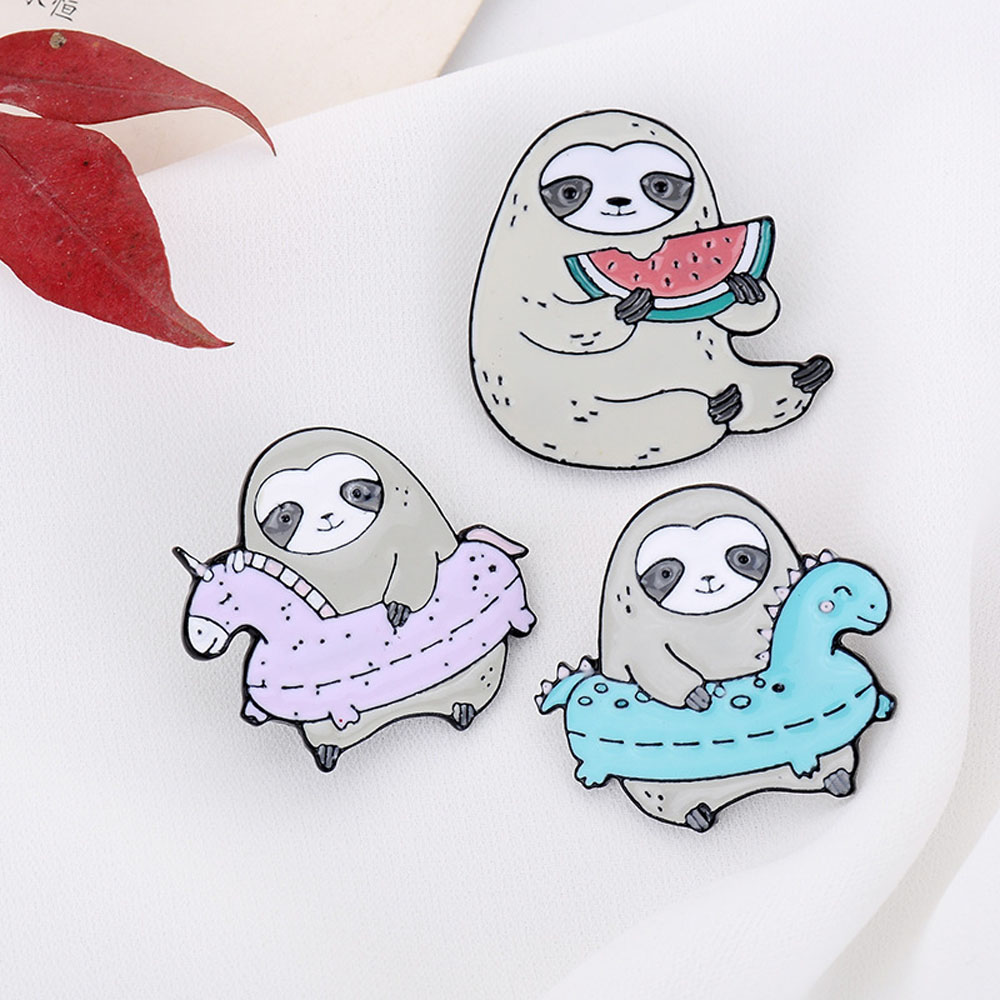 1PC Super Cute Sloth Colorful Cartoon Animal Enamel Pin Yoga Lazy Flash Lapel Badges Brooches Pins For Best Friends Cute Jewelry image