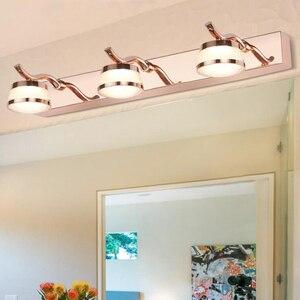 Светодиодный светильник для туалетного зеркала из нержавеющей стали, настенный светильник для спальни, хром/розовое золото