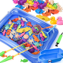 15-68PCS Kids Magnetic Fishing Toy Set Baby Water Toys with Inflatable Pool Magnet Fishing Rod Classic Toys for Children Gifts
