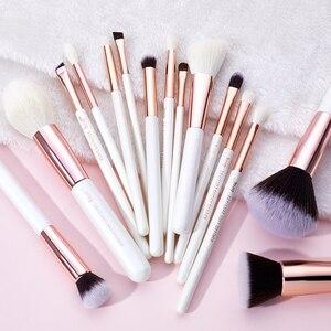 Image 4 - Jessup pinceaux de maquillage professionnel complet fond de teint poudre définisseur ombre eye liner mélangeur 15 pièces blanc / or rose