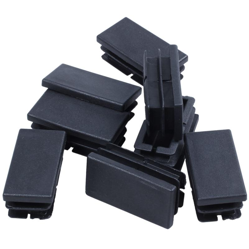 HLZS-8 Pcs Black Plastic Rectangular Blanking End Caps Inserts 20mm X 40mm