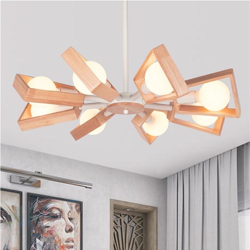 Деревянная светодиодная люстра в скандинавском/японском стиле, вращающийся подвесной светильник, современный подвесной светильник для ст