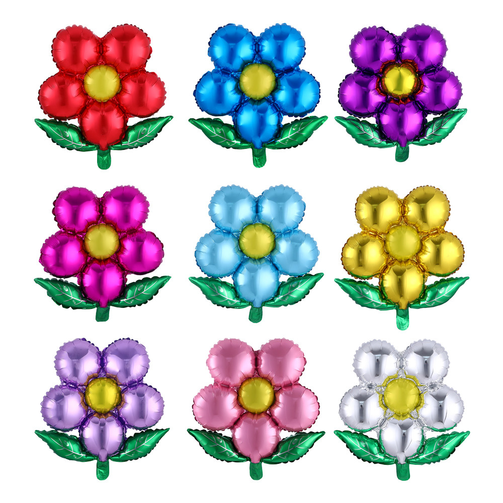 55*58 см цветы из алюминиевой фольги воздушные шары с пятью листами для свадебной вечеринки, украшения для дня рождения, украшения в форме цве...