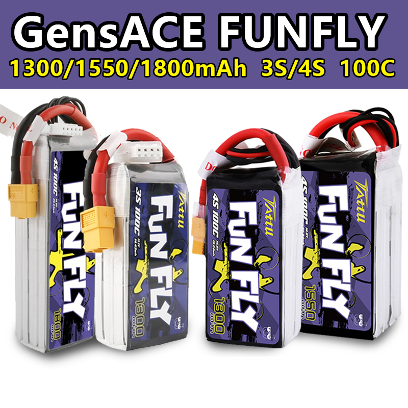 TATTU FUNFLY 1300mAh 1550mAh 3S 4S 11.1V 14.8V 100C Lipo Battery XT60 Plug for FPV 250 230 210 180 Size Drone