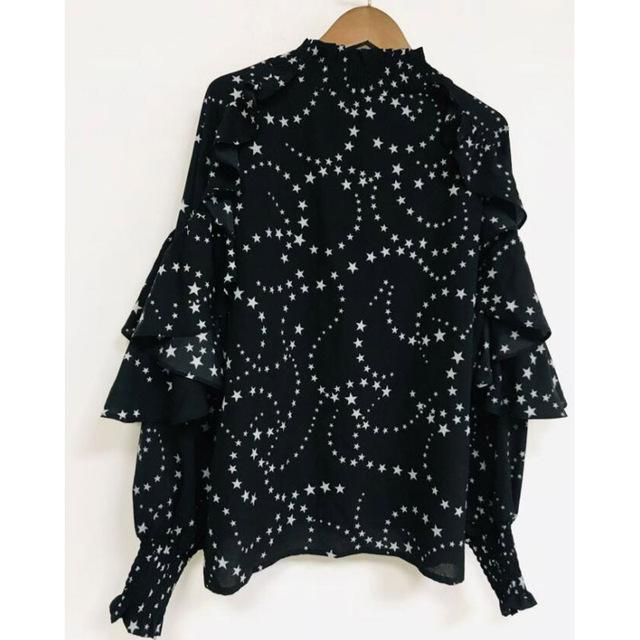 Blusas de gasa camisas de mujer Sexy transparente estrellas estampado volantes manga completa negro 2019 otoño invierno nuevo Dropshipping
