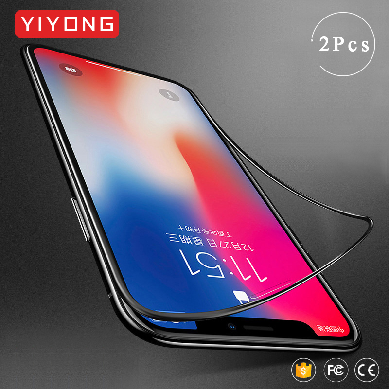 YIYONG 4D Soft Edge Glass For IPhone 11 Pro Max Tempered Glass For IPhone X XR XS Max Screen Protector IPhone11 Pro Max 11 Glass