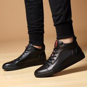 Image 5 - Mężczyźni prawdziwej skóry wysokie trampki jesień męskie buty zimowe Tenis Sneaker czarny Zapatilla Hombre Hip Hop Plus rozmiar 47 48