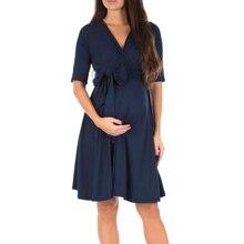 Dress Pregnant-Women's Maternity-Breastfeeding V-Neck Skirt Solid-Color