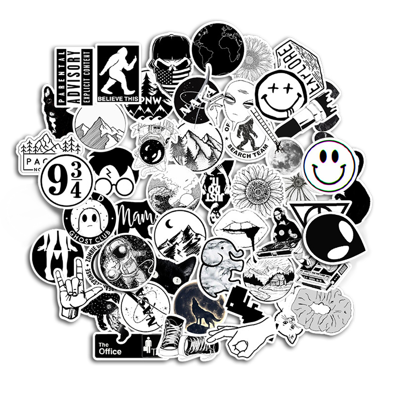 50PCS Black And White Cool DIY Computer Stickers Waterproof Skateboard Laptop Luggage Fridge Sticker For Samsung Notebook