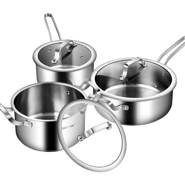 6 Piece Stainless Steel Cookware Set Nonstick Pot And Pans w/ Glass Lids Silver KC52001 1