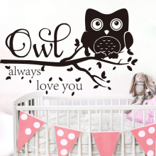Large Owl Always Love You Star Branch Wall Sticker Baby Nursery Kids Cartoon Owl Zoo Animal Family Love Quote Wall Decal LW429