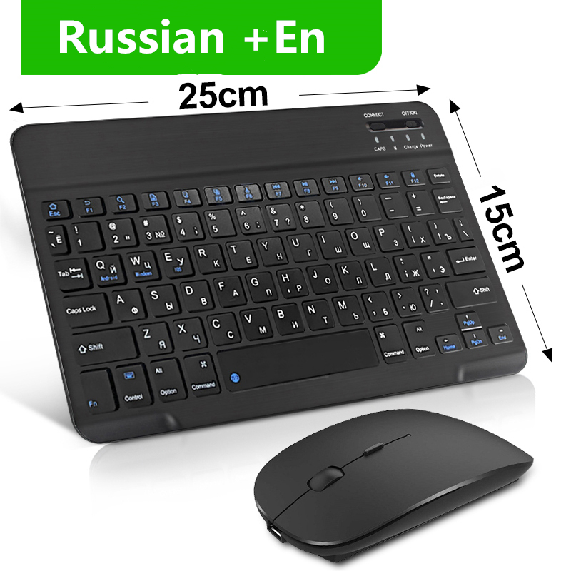 Wireless Keyboard Mouse Set Bluetooth Keyboard Mouse Kit Ergonomic Russian Keyboard Mouse For ipad Tablet Laptop Smartphone