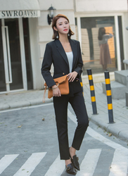 2 piece suit Retro autumn and winter womens pants suit blazer jacket and pants 2019 office wear womens suit