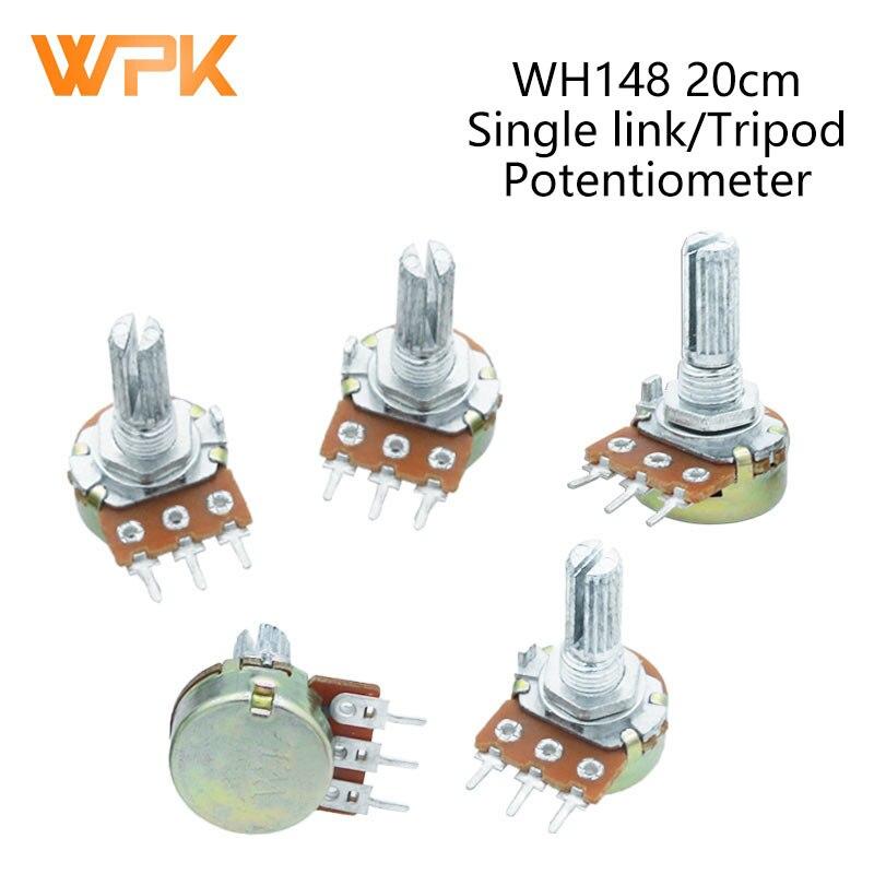 2 шт. WH148, 3 контакта, 20 мм, 1K, 2K, 5K, 10K, 20K, 50K, 100K, 250K, 500K, 1 м, усилитель вала, двойной стерео потенциометр B1K, B2K, B5K, B10K, B20K, B50K