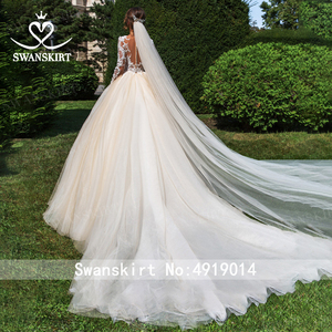 Image 2 - Vintage perles Appliques robe de mariée swanjupe F104 col en v à manches longues a ligne dentelle princesse robe de mariée Vestido de novia