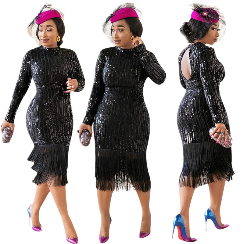 2019 New Arrival Autumn Elegent Fashion Style African Women O-neck Plus Size Sequined Knee-length Dress S-XXL