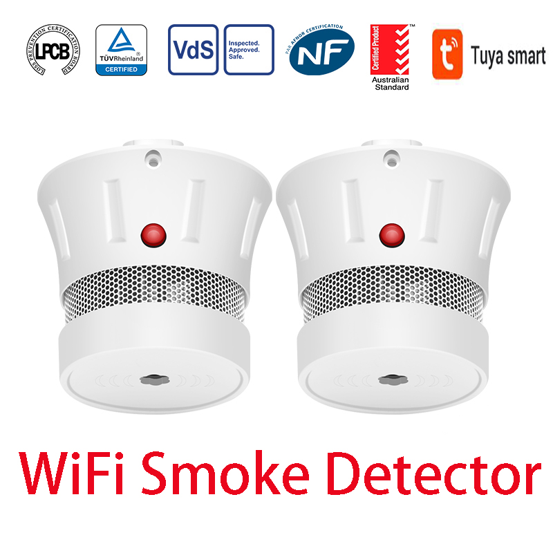CPVan 2PCS WiFi Smoke Detector Tuya APP Connection CE Certified TUV Certified Smoke Sensor EN14604 Listed For Home Security