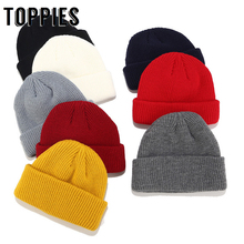 2019 zima dzianiny mankiet krótki Melon czapka w stylu Vintage Skullcaps dla kobiet Beanie kapelusz tanie tanio Akrylowe Kobiety Dla dorosłych Campaniform Na co dzień Stałe Knitted hat