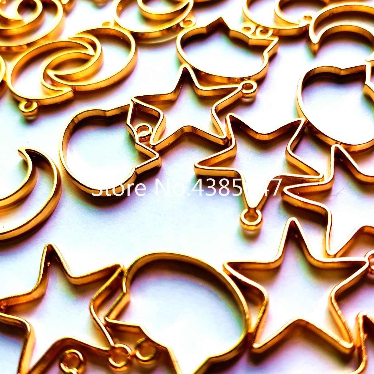 15 pçs/set Metal Brinco Estrela Da Lua Gato DIY Moldura Moldura de Metal DIY Resultados Da Jóia do Encanto do Metal Molduras Jóias