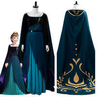 La reina de las nieves 2 coronación Anna vestido del traje de Cosplay larga capa vestido mujeres mujer Halloween fiesta de Carnaval