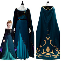 Snow Queen 2 Anna Coronation Dress Cosplay Costume Long Gown Cape Adult Women Female Girls Halloween Carnival Party