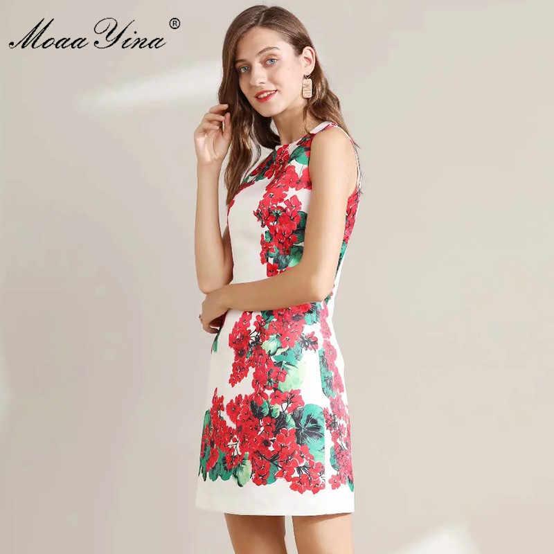MoaaYina модное дизайнерское платье для подиума летнее женское платье без рукавов с цветочным принтом плюс размер 5XL платья высокого качества
