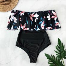 Сдельный купальник, женский купальник с принтом и рюшами, боди, монокини, женские мягкие купальники, пляжная одежда, летняя