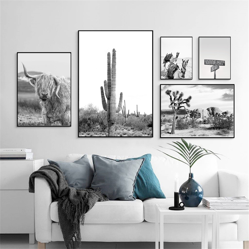 Scandinavian Tropical Desert Landscape Cactus Bird Canvas Poster Nordic Style Wall Art Print Painting Home Decoration Pictures