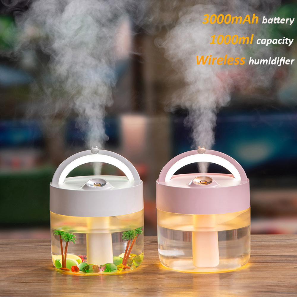 Wireless Air Humidifier 1000ML Water Diffuser 3000mAh Battery Rechargeable Ultrasonic Cool Mist Maker Fogger USB Humidificador