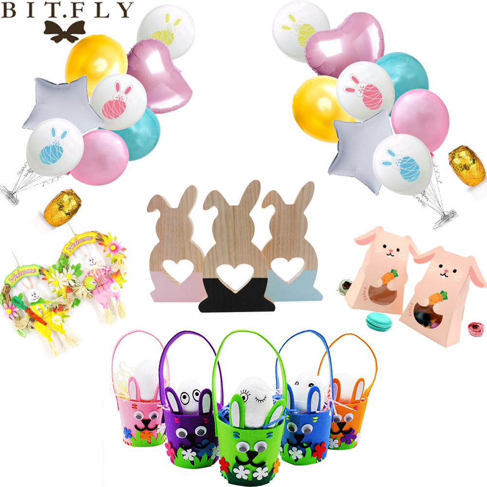 Happy Easter Decorations For Home, Balloons, Candy Box, DIY Photo Clip Rabbit Theme Party Decoration Easter Rabbit Decor Gift