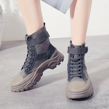 Moda 2019 botas de combate de lona Beige negro gris botines de Mujer Zapatos F21