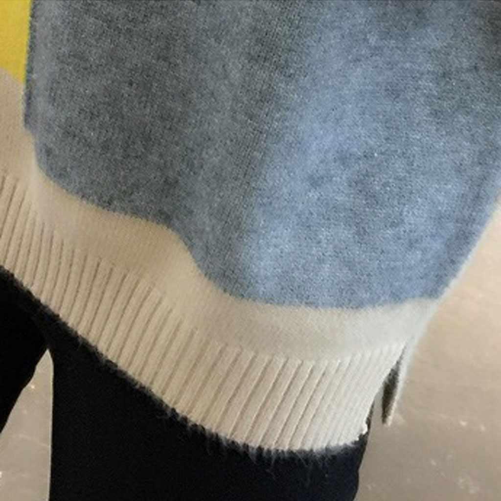 ジャージ mujer invierno 女性セーターファッションパッチワークカラープルオーバーセーター冬暖かい O ネック長袖ニットトップ ropa mujer