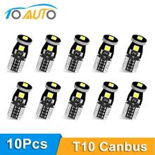 10 個T10 W5W led電球 194 168 3030 canバスエラーフリーのled駐車電球オートウェッジクリアランスランプ 6000 18kスーパー明るいled