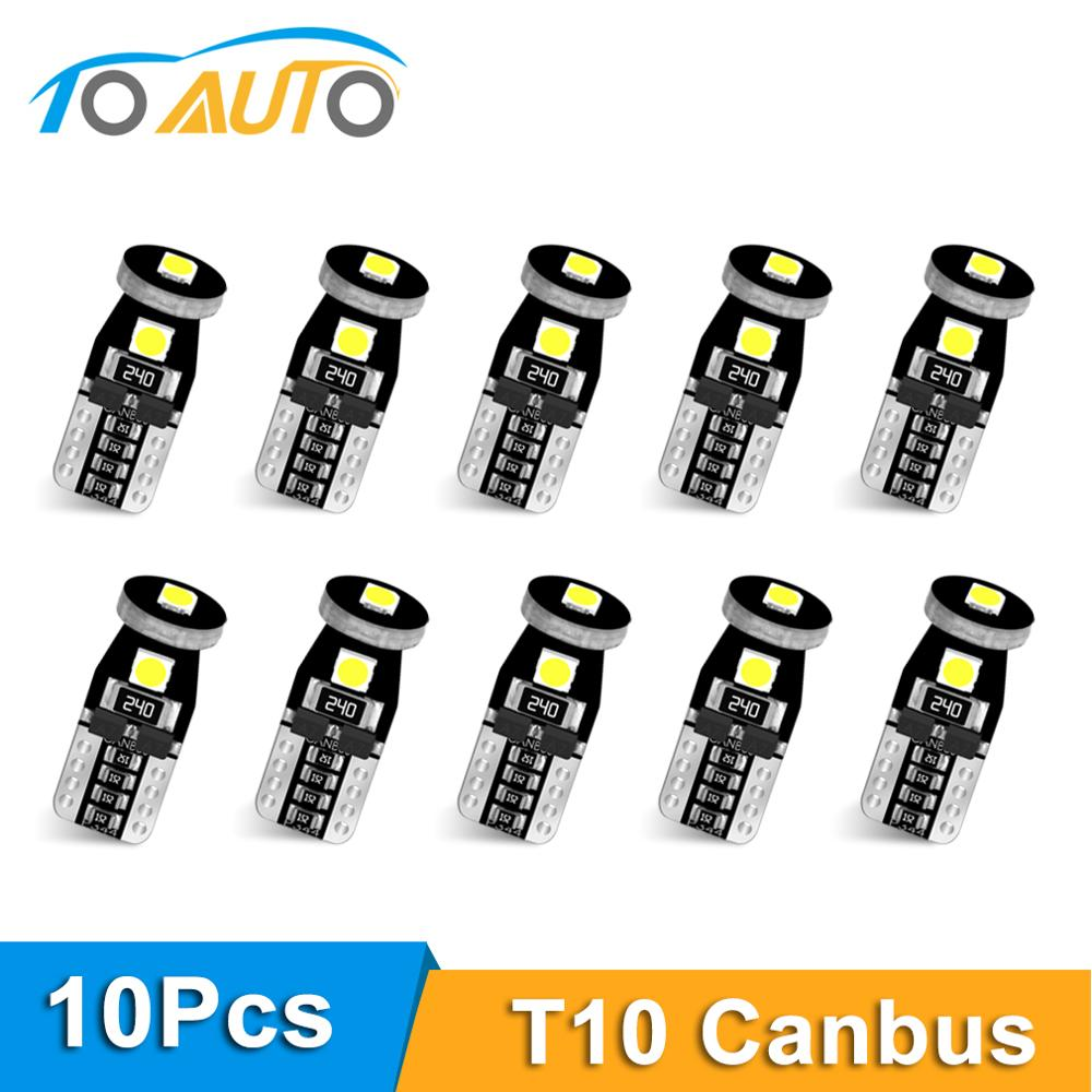 10pcs T10 W5W Led Bulb 194 168 3030 Chips Canbus Error Free Led Parking Bulb Auto Wedge Clearance Lamp 6000K Super Brighter Led