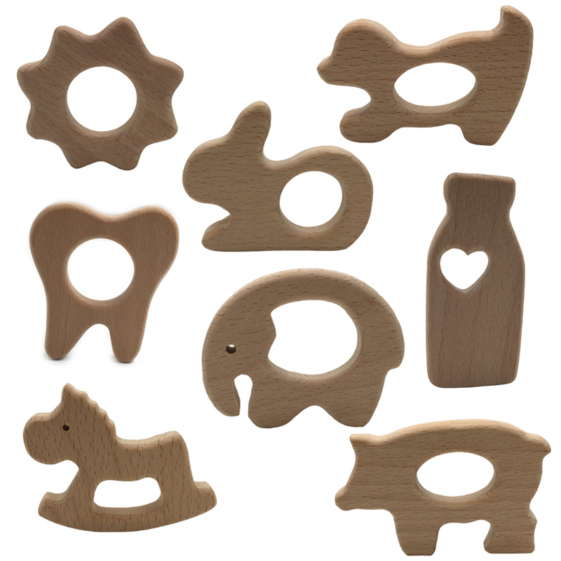 New 1pcs Baby Teether DIY Nursing Pendant Teething Toys Cute Animal Shape Food Grade Materials Organic Chew Gift Wooden Teether