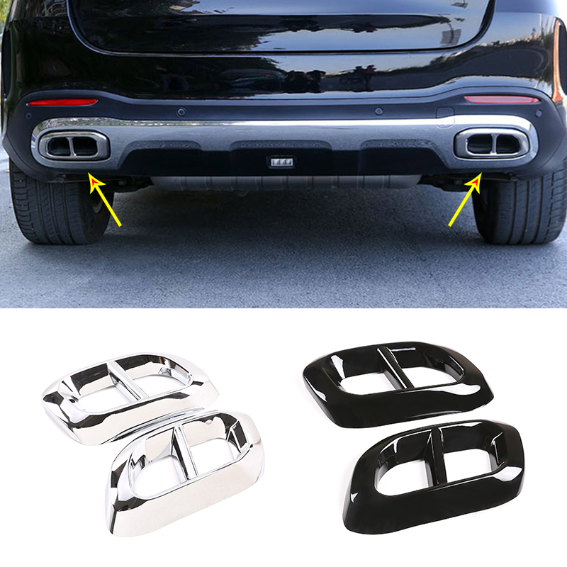 2pcs Car Muffler Exhaust Pipe Tail Cover Trim Exterior Accessories For Mercedes Benz GLE 350 GLE 450 GLC GLS W167 X253 X167 2020 image