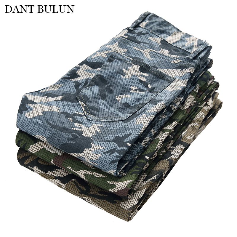 New Men Jeans Camouflage Military Printed Pants Slim Elastic Cargo Trousers Men Hip Hop Joggers Pants For Male Denim Jeans