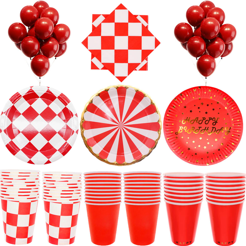 Racing Theme Party Supplies Speed Fish Passion Racing Red And White Grid Birthday Party Supplies Racing Decoration