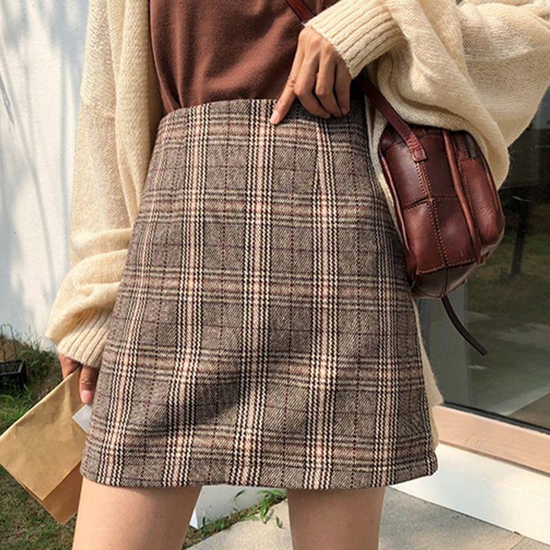 Women Autumn Skirt High Waist Bag Hip Woolen Skirt Wild Plaid Print A-Line Dress