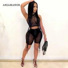 ANJAMANOR – ensemble 2 pièces Sexy noir en maille transparente, short de motard, Bandage, combinaison, tenues de Club