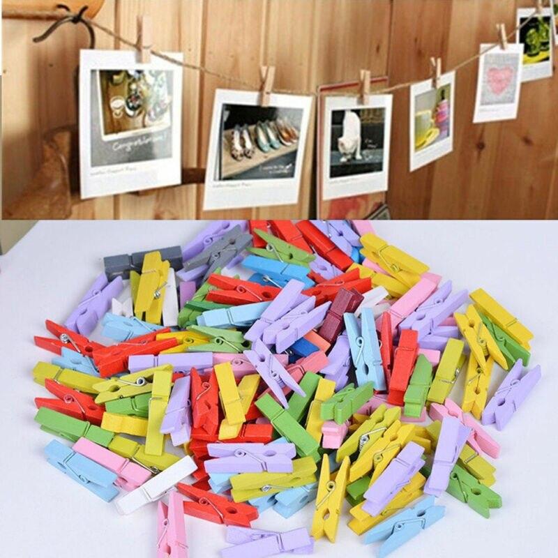 50x mini varal de madeira lavandaria foto papel peg clip roupas pinos arte artesanato pl