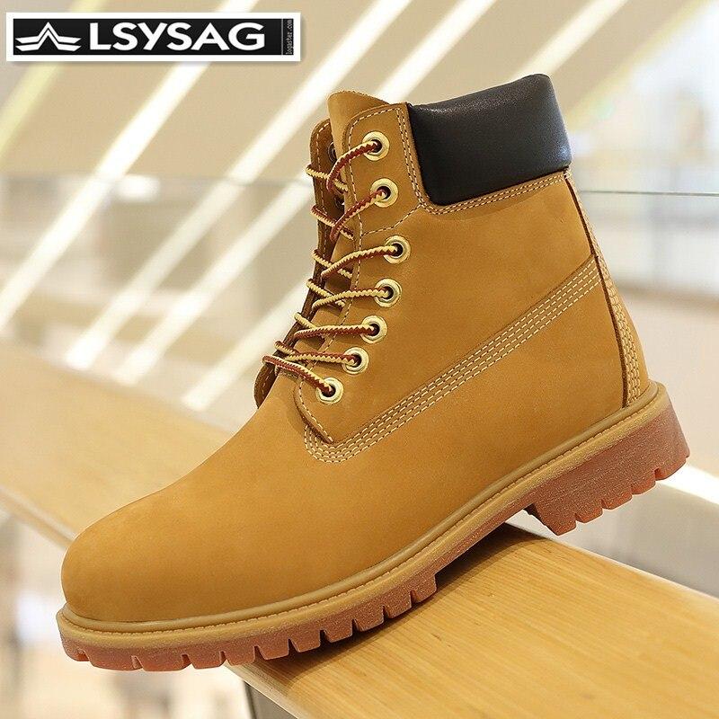 Botas de cuero genuino de lujo para hombre, botas de invierno para hombre, botas de nieve de tobillo con cordones, botas de piel de vaca de primera capa a prueba de agua amarillas zapatos