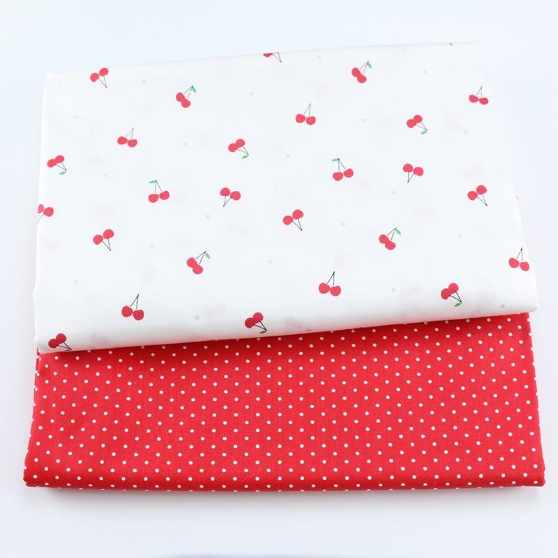 Милый Вишневый 100% Ткань Twill хлопка для ребенка, Сделай Сам Лоскутная Ткань, лоскутного шитья простыня платья материалы, ткань