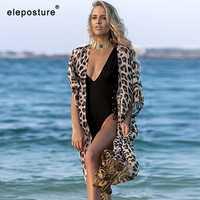 2020 New Sexy Leopard Print Chiffon Beach Cover Up Loose Long Cardigan Bikini Cover Up Beach Dress Tunics Bathing Suit Cover-Ups