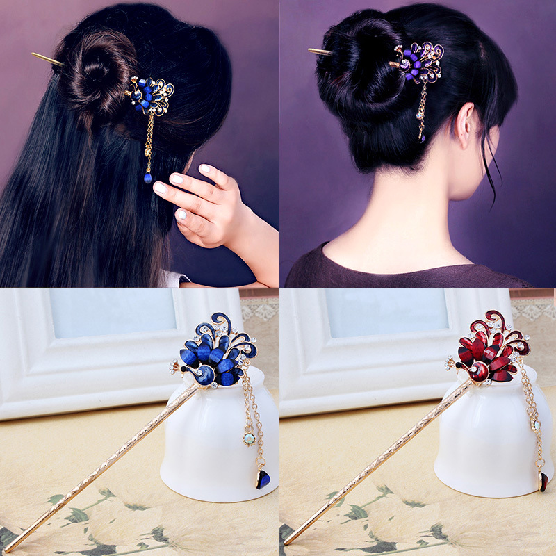 Flowers Peacock Tassels Hair Stick Step Shake Hairpins Drop Oil Vintage Hair Stick Pins For Women Girls Hair Styling Accessories
