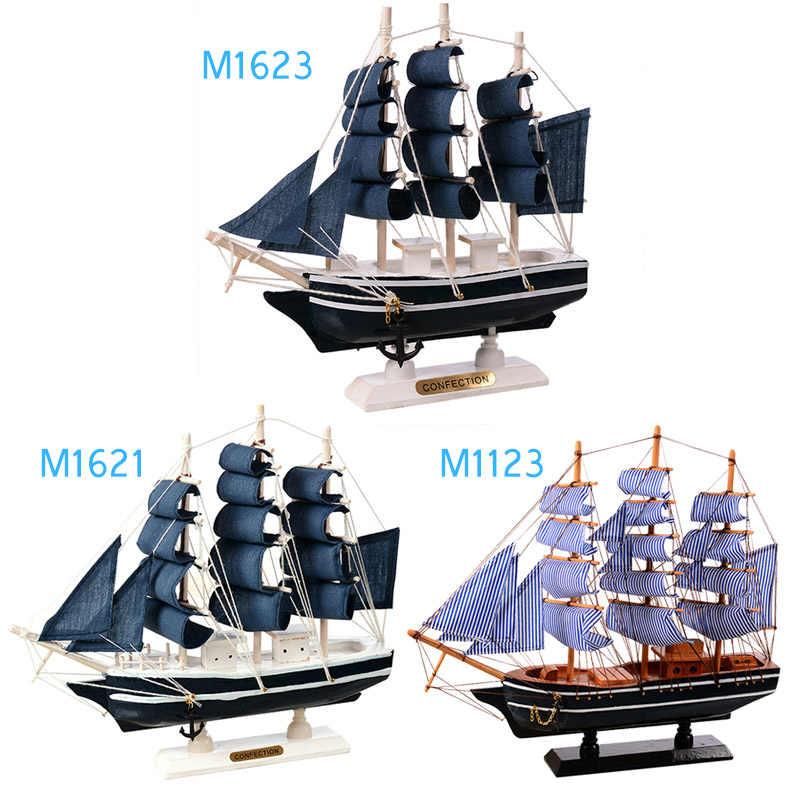 Wooden Sailing Ship Mediterranean Style Home Decoration Handmade Gift Model