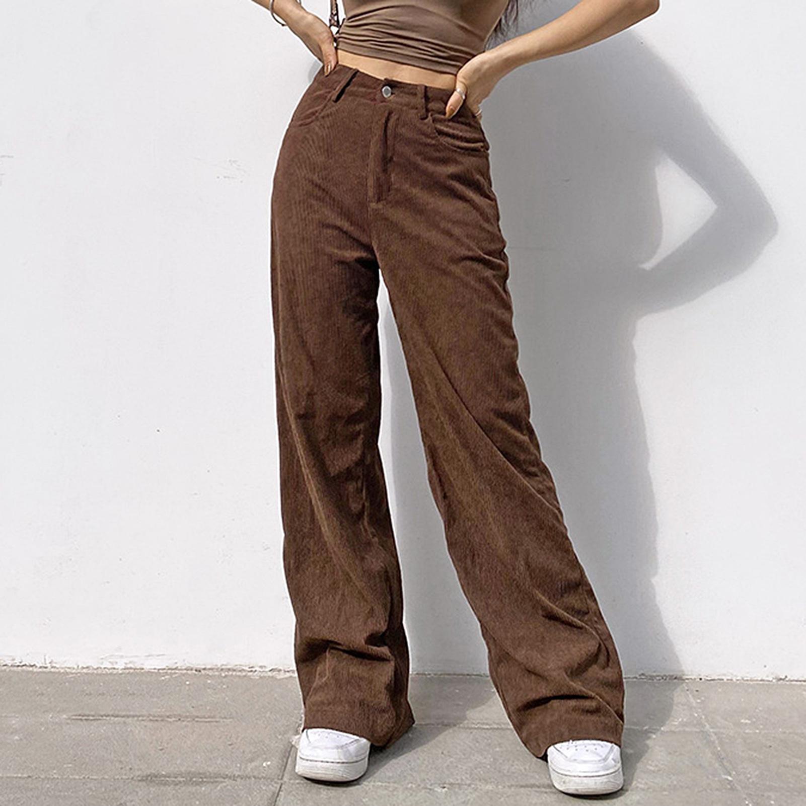 90s Инди уличная вельветовые брюки для девочек в винтажном стиле; Для подростков с коротким и широким подолом для девочек стиль мешковатые бр...
