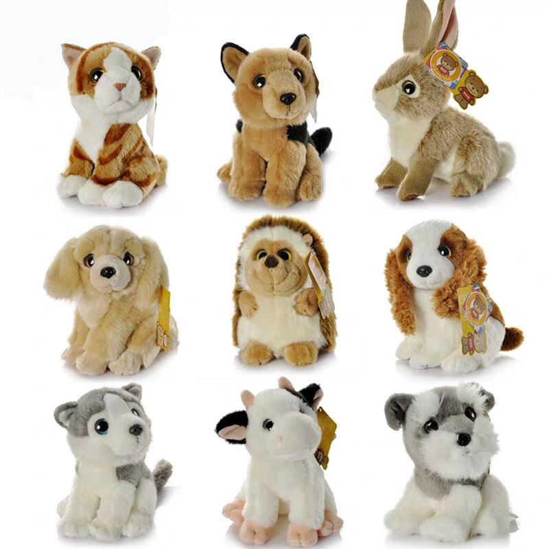 """7 """"/18 ซม.เหมือนจริงแมวสุนัขวัว Schnauzer ตุ๊กตาของเล่นน่ารักจริงจริงชีวิตสัตว์ป่า Hedgehog ตุ๊กตาของขวัญของเล่นสำหรับเด็ก"""
