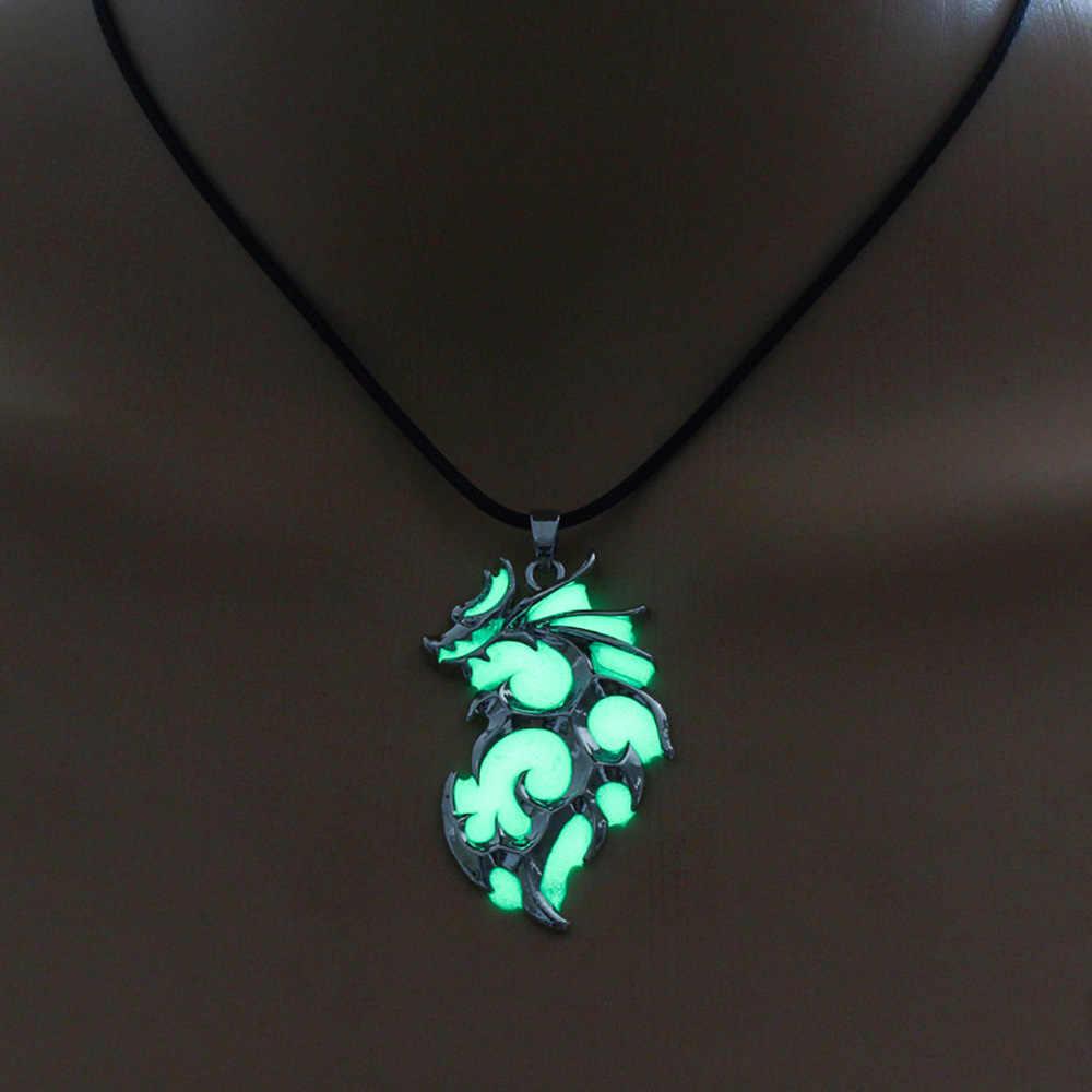 Colar luminoso de dragão, corrente noturna brilhante, fluorescência, prateado, brilha no escuro, para homens, mulheres, festa, hallowen