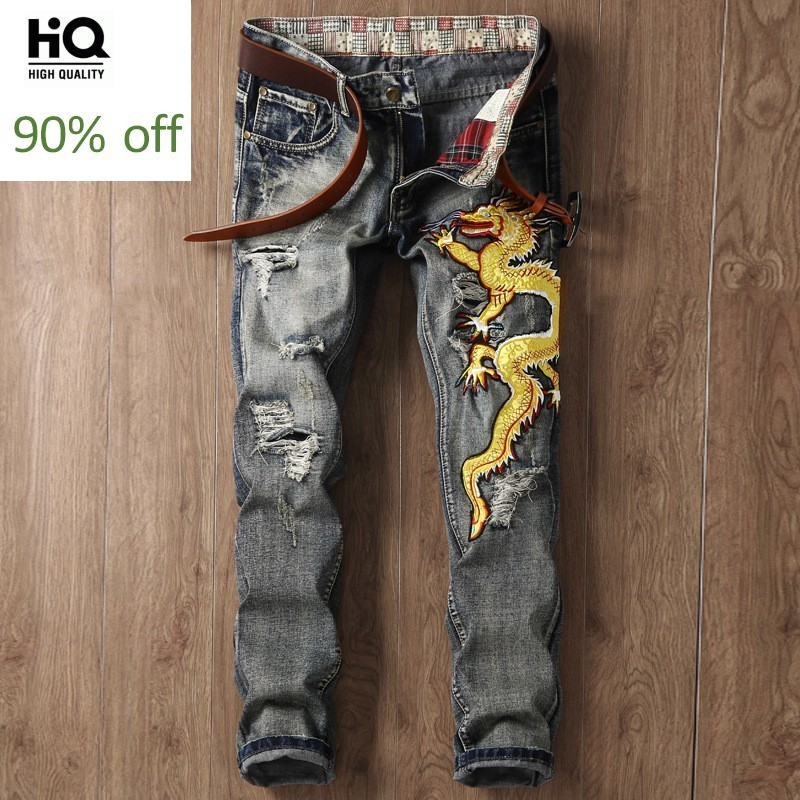 Men's Denim Jeans 2020 Spring Hot Fashion Brand Embroidery Slim Fit Hole Ripped Jean For Men Straight Hip Hop Cowboys Pants Man